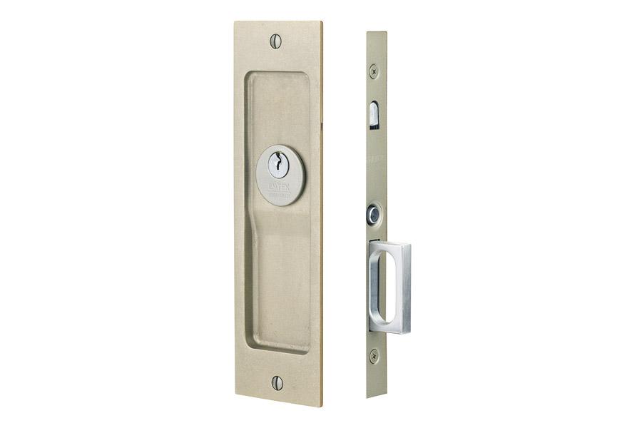 Emtek 2123 Sandcast Bronze Rustic Modern Keyed Pocket Door