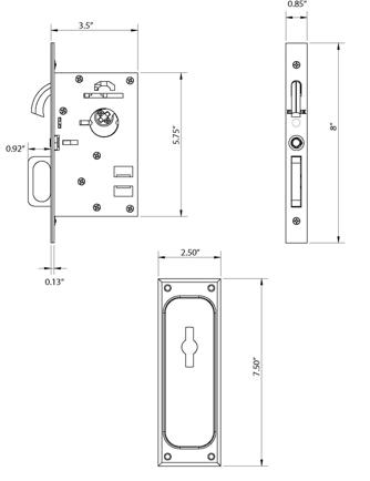 Emtek Pocket Door Classic Mortise Lock Spec
