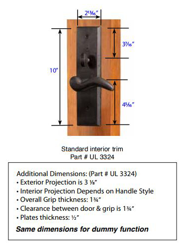 Emtek Rectangular Sectional Mortise Handleset 3324