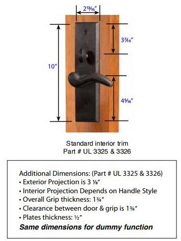 Emtek Rectangular Full Length Mortise Handleset 3326