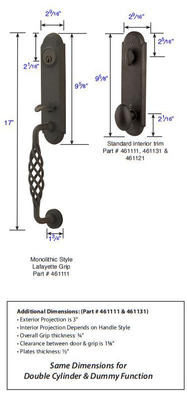 Emtek Wrought Steel Monolithic Lafayette Grip Tubular