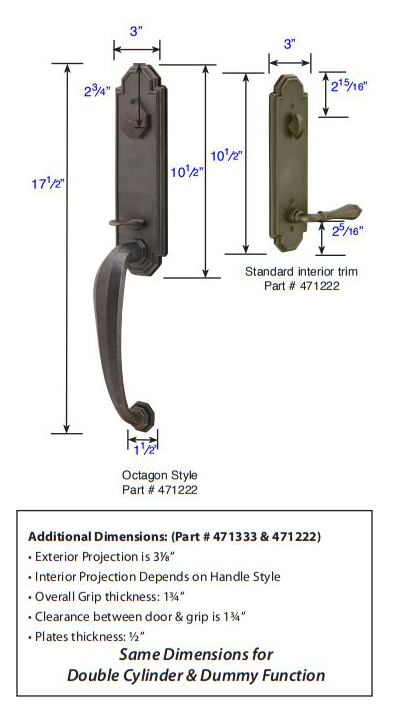 Emtek Octagon Tubular Handleset 471222