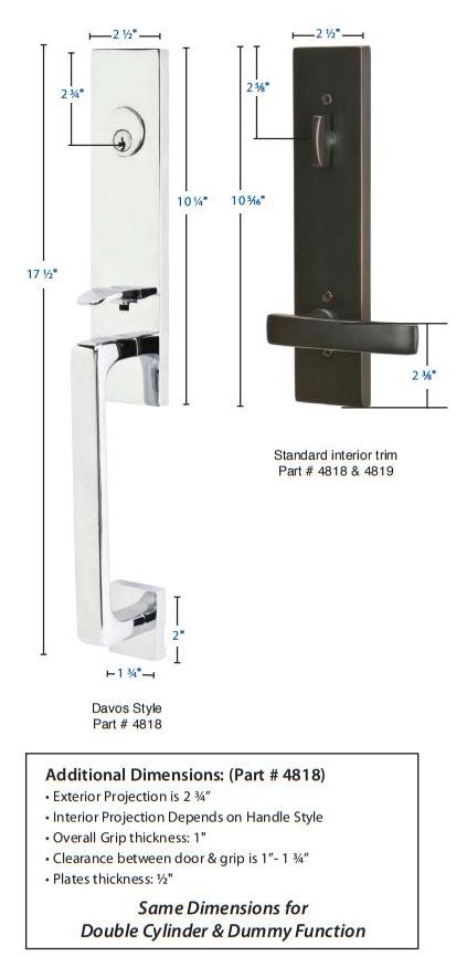 Emtek Davos Tubular Handleset 4818