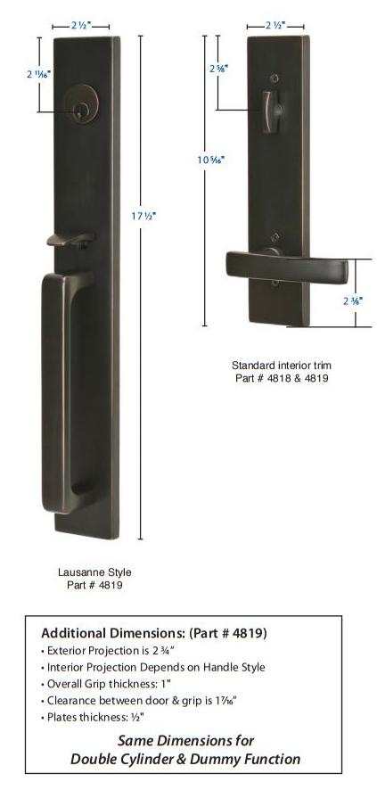 Emtek Lausanne Tubular Handleset 4819