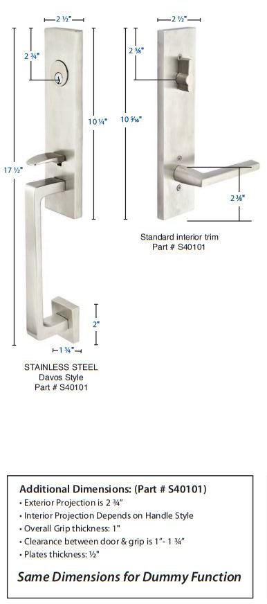 Emtek Stainless Steel Davos Tubular Handleset S40101