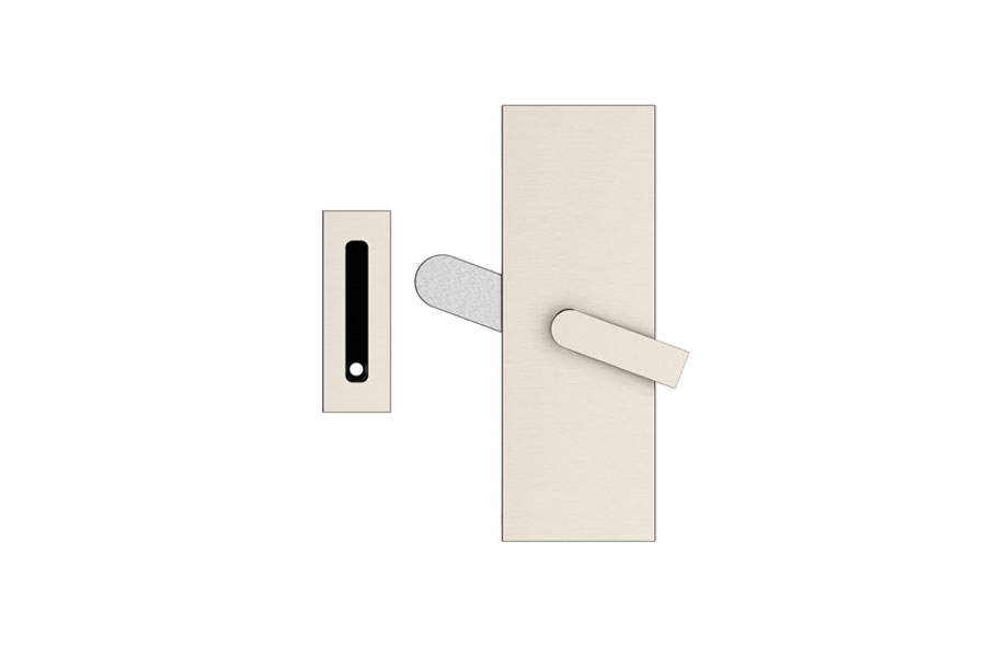 Emtek 222201 Modern Rectangular Barn Door Privacy Lock With Strike