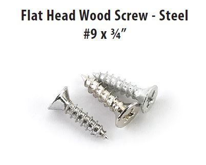 Emtek 100PK-9FHWS75 Flat Head Wood Screw - Steel #9 X 3/4