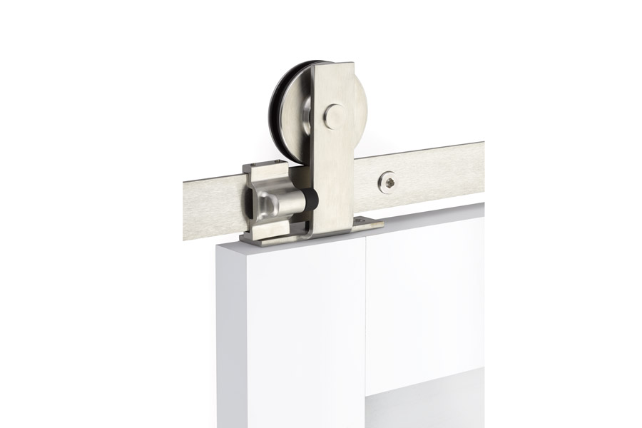 Emtek Modern Rectangular Top Mount Barn Door Hanger Stainless Steel