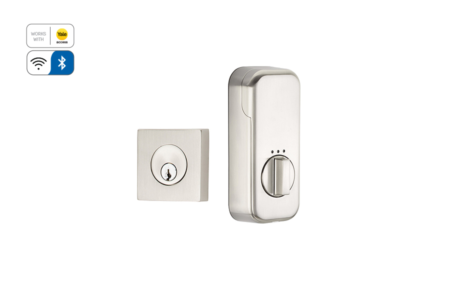 Emtek EMP8469 Square Single Cylinder Deadbolt with EMPowered Motorized Smart Lock Upgrade