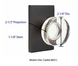 Emtek Modern Disc Crystal Knob Specs