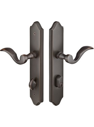 Emtek Concord Multi Point Lock 1 - 2 X 10 Plate with Cortina Lever in Oil Rubbed Bronze