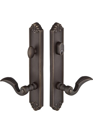 Emtek Tuscany Cast Bronze Multi Point Lock 3 - 2 X 10 Plate with Napoli Lever in Medium Bronze