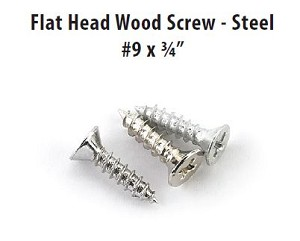 "Emtek Flat Head Wood Screw - Steel #9 X 3/4"" 100PK-9FHWS75"