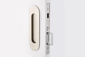 Emtek Narrow Oval Dummy Pocket Door Mortise Lock in Satin Nickel 2166US15