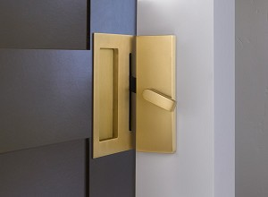 Emtek Modern Rectangular Barn Door Privacy Lock and Flush Pull with Integrated Strike in Satin Brass 222202US4