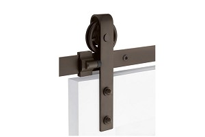 Emtek Classic Face Mount Barn Door Hanger with Spoked wheel and  Classic Fasteners in Oil Rubbed Bronze