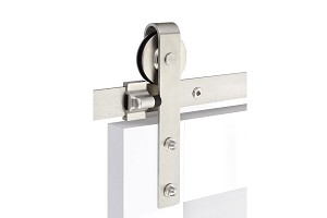 Emtek Classic Face Mount Barn Door Hanger with Solid wheel and Classic Fasteners Stainless Steel