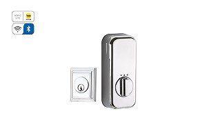 Emtek Wilshire Single Cylinder Deadbolt with EMPowered Motorized Smart Lock Upgrade in Polished Chrome EMP8479US26