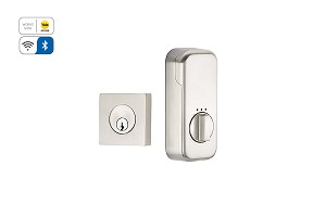 Emtek Square Deadbolt with EMPowered Motorized Smart Lock Upgrade in Satin Nickel EMP8469US15