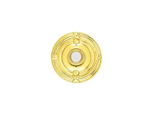 Emtek Ribbon & Reed Rosette Doorbell in Polished Brass 2407US3