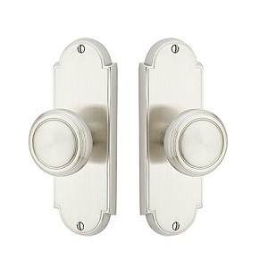 Emtek Delaware 7-1/8 Inch Non-Keyed Sideplate  with Norwich Knob in Satin Nickel 8026US15