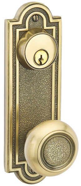 "Emtek Belmont 3-5/8"" Center to Center Keyed Sideplate with Belmont Knob in French Antique 8070US7"
