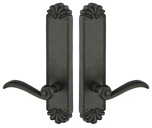 "Emtek Lost Wax Cast Bronze #16  10-1/8"" Non Keyed Sideplate with Medici Lever in Flat Black 6802FB"