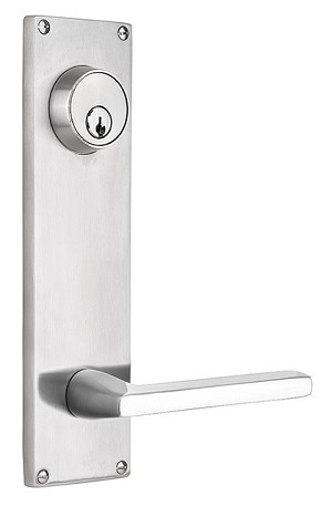 Emtek Stainless Steel 5-1/2 Center to Center Keyed Sideplate with Helios Lever S812