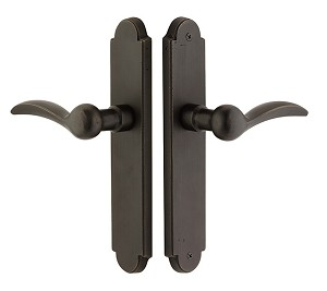 "Emtek Stretto Sandcast Arched 2"" X 10"" Non-Keyed Passage with Durango Lever in Medium Bronze 4141MB"