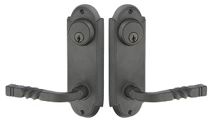 Emtek Wrought Steel #5 Keyed 3-5/8 Center to Center Sideplate with San Carlos Lever in Flat Black 7011FB