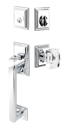 Emtek Hamden Tubular Handleset with Windsor Knob in Polished Chrome 4213US26