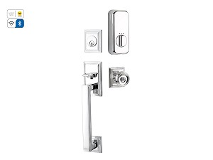 Emtek Hamden Handle Set  with Empowered Motorized Smart Lock Upgrade with Waverly in Polished Chrome