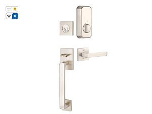 Emtek Baden Handle Set  with Empowered Motorized Smart Lock Upgrade with Dumont Lever in Satin Nickel