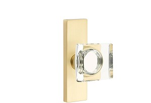 Emtek Stretto Rosette with Square Crystal Knob  in Satin Brass